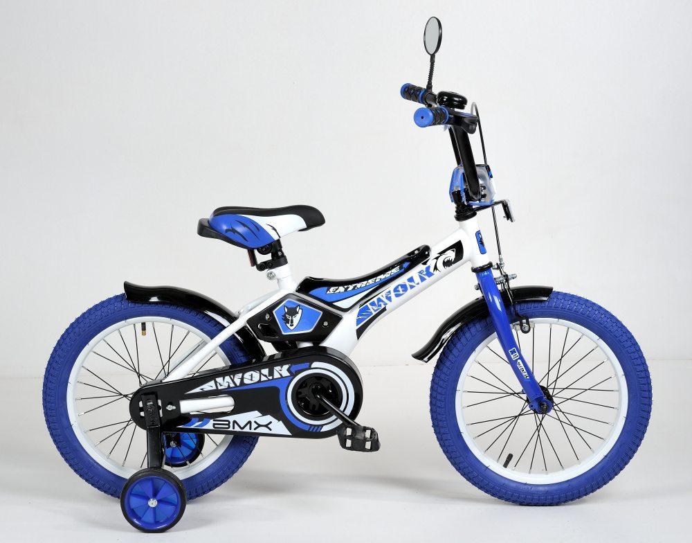 "Детский велосипед 16"" Wolk передний тормоз, синие покрышки"
